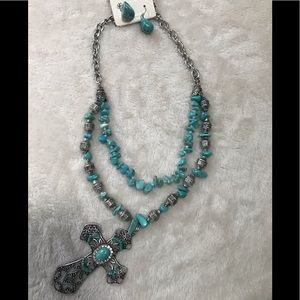 Turquoise & silver large cross & earring set